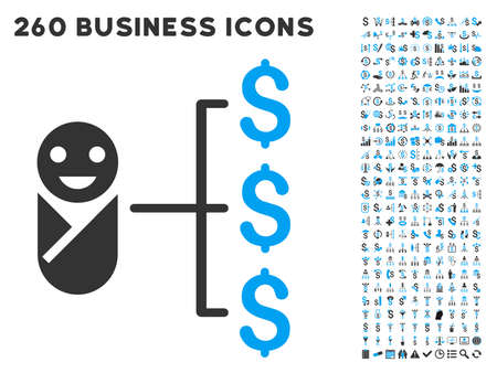 Baby Expenses icon within 260 vector business pictogram set. Style is bicolor flat symbols, light blue and gray colors, white background.