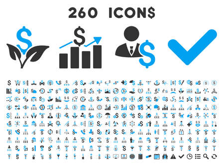 260 Business vector icons. Style is bicolor blue and gray flat symbols on a white background.
