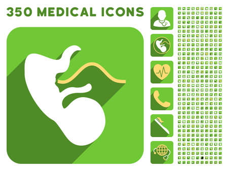 umbilical cord: Embryo Cord icon and 350 vector medical icons collection. Style is white and yellow flat symbols on rounded square green buttons with longshadow. Illustration