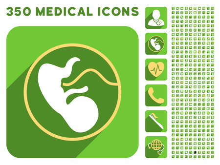 placenta: Embryo Uterus icon and 350 vector medical icons collection. Style is white and yellow flat symbols on rounded square green buttons with longshadow.