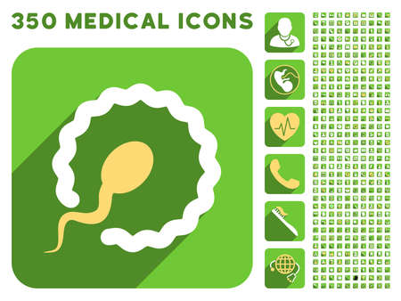 insemination: Egg Insemination icon and 350 vector medical icons collection. Style is white and yellow flat symbols on rounded square green buttons with longshadow. Illustration