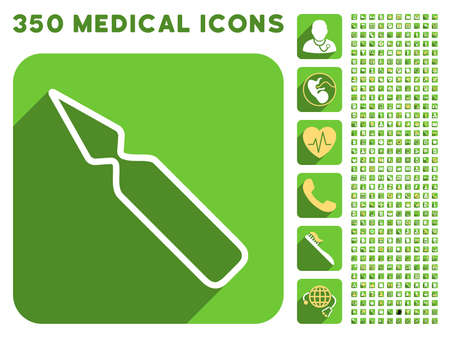 an ampoule: Empty Ampoule icon and 350 vector medical icons collection. Style is white and yellow flat symbols on rounded square green buttons with longshadow.