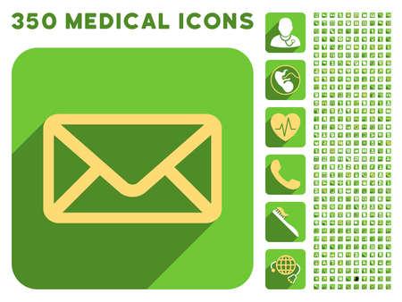 Umschlag-Symbol und 350 Vektor medizinische Symbole Sammlung. Stil ist weiß und gelb flache Symbole auf abgerundeten quadratischen grünen Tasten mit Langschatten.