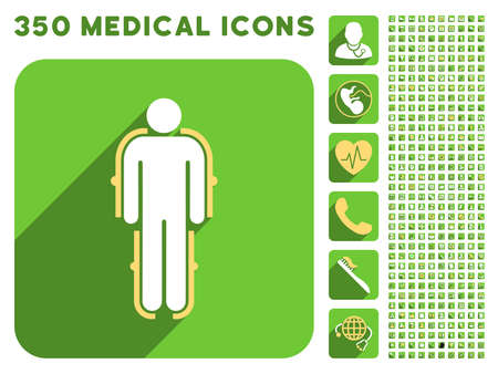 robot with shield: Exoskeleton icon and 350 vector medical icons collection. Style is white and yellow flat symbols on rounded square green buttons with longshadow.