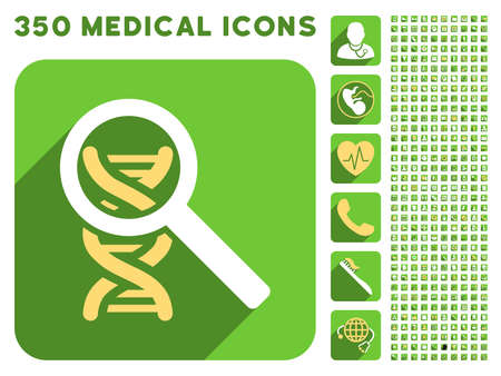 health care analytics: Explore DNA icon and 350 vector medical icons collection. Style is white and yellow flat symbols on rounded square green buttons with longshadow.