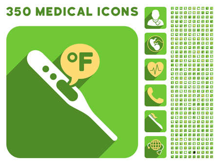 parameter: Fahrenheit Temperature icon and 350 vector medical icons collection. Style is white and yellow flat symbols on rounded square green buttons with longshadow.