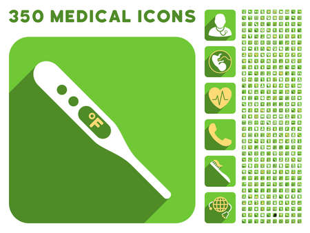 medical symbols: Fahrenheit Thermometer icon and 350 vector medical icons collection. Style is white and yellow flat symbols on rounded square green buttons with longshadow.