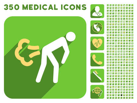 fart: Fart icon and 350 vector medical icons collection. Style is white and yellow flat symbols on rounded square green buttons with longshadow. Illustration