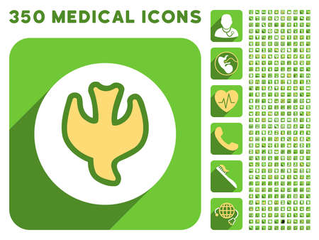 Falling Soul icon and 350 vector medical icons collection. Style is white and yellow flat symbols on rounded square green buttons with longshadow.