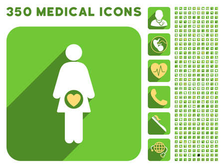 fertility: Fertility icon and 350 vector medical icons collection. Style is white and yellow flat symbols on rounded square green buttons with longshadow. Illustration