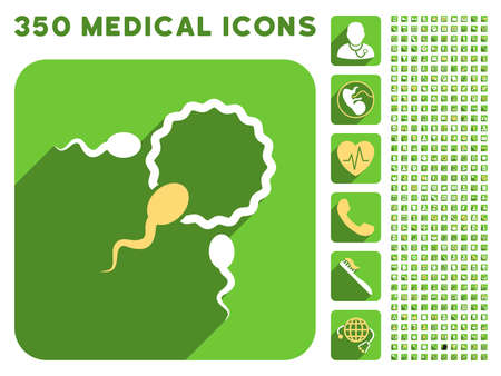 spermatozoa: Fertilization icon and 350 vector medical icons collection. Style is white and yellow flat symbols on rounded square green buttons with longshadow. Illustration