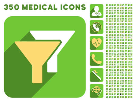 stricture: Filters icon and 350 vector medical icons collection. Style is white and yellow flat symbols on rounded square green buttons with longshadow.