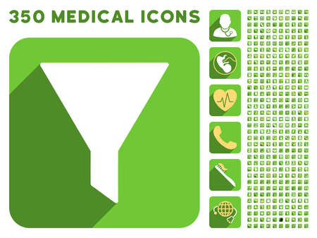 stricture: Filter icon and 350 vector medical icons collection. Style is white and yellow flat symbols on rounded square green buttons with longshadow.