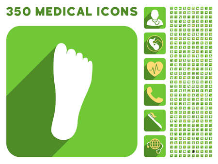 sole: Foot Sole icon and 350 vector medical icons collection. Style is white and yellow flat symbols on rounded square green buttons with longshadow.