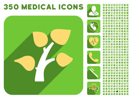 sms payment: Garden Plant icon and 350 vector medical icons collection. Style is white and yellow flat symbols on rounded square green buttons with longshadow.