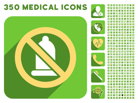 condoms: Forbidden Condom icon and 350 vector medical icons collection. Style is white and yellow flat symbols on rounded square green buttons with longshadow. Illustration