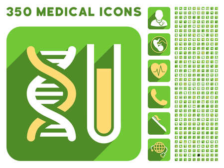 health care analytics: Genetic Analysis icon and 350 vector medical icons collection. Style is white and yellow flat symbols on rounded square green buttons with longshadow. Illustration