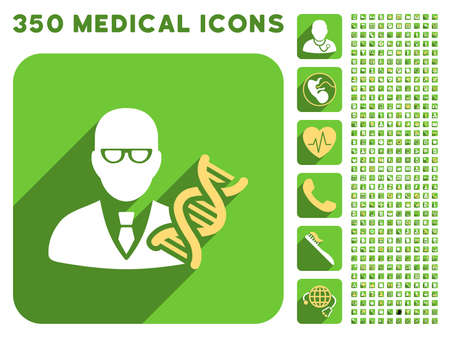 sms payment: Genetic Engineer icon and 350 vector medical icons collection. Style is white and yellow flat symbols on rounded square green buttons with longshadow.