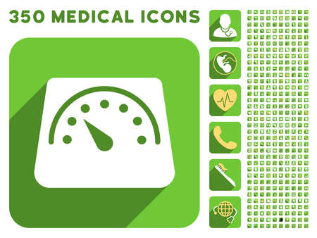 sms payment: Floor Weight Meter icon and 350 vector medical icons collection. Style is white and yellow flat symbols on rounded square green buttons with longshadow. Illustration