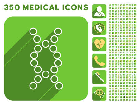 genome: Genome icon and 350 vector medical icons collection. Style is white and yellow flat symbols on rounded square green buttons with longshadow. Illustration