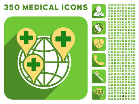 sms payment: Global Clinic Company icon and 350 vector medical icons collection. Style is white and yellow flat symbols on rounded square green buttons with longshadow.