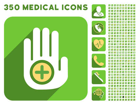 free hand: Hand Medical Marker icon and 350 vector medical icons collection. Style is white and yellow flat symbols on rounded square green buttons with longshadow. Illustration