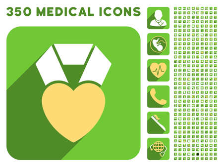 medal like: Heart Award icon and 350 vector medical icons collection. Style is white and yellow flat symbols on rounded square green buttons with longshadow. Illustration