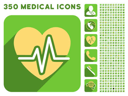 health care analytics: Heart Diagram icon and 350 vector medical icons collection. Style is white and yellow flat symbols on rounded square green buttons with longshadow. Illustration