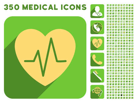 Heart Ekg icon and 350 vector medical icons collection. Style is white and yellow flat symbols on rounded square green buttons with longshadow.