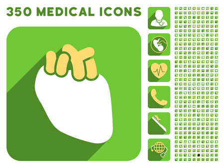 medical heart: Heart Organ icon and 350 vector medical icons collection. Style is white and yellow flat symbols on rounded square green buttons with longshadow. Illustration