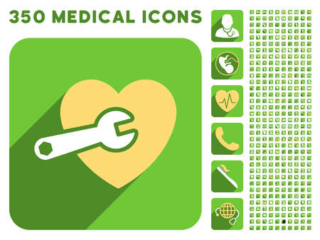 heart surgery: Heart Surgery icon and 350 vector medical icons collection. Style is white and yellow flat symbols on rounded square green buttons with longshadow.