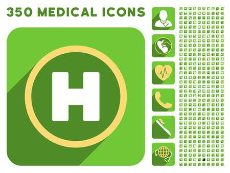 Helicóptero icono Landing Circle y 350 vector colección de iconos de médicos. El estilo es blanco y amarillo símbolos planas en los botones verdes cuadrado redondeado con Longshadow.