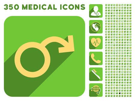 icono de la impotencia y 350 vector colección de iconos de médicos. El estilo es blanco y amarillo símbolos planas en los botones verdes cuadrado redondeado con Longshadow.