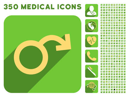 impotence: Impotence icon and 350 vector medical icons collection. Style is white and yellow flat symbols on rounded square green buttons with longshadow.