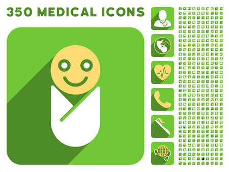 sms payment: Infant icon and 350 vector medical icons collection. Style is white and yellow flat symbols on rounded square green buttons with longshadow.