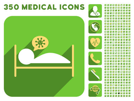 patient bed: Infected Patient Bed icon and 350 vector medical icons collection. Style is white and yellow flat symbols on rounded square green buttons with longshadow.