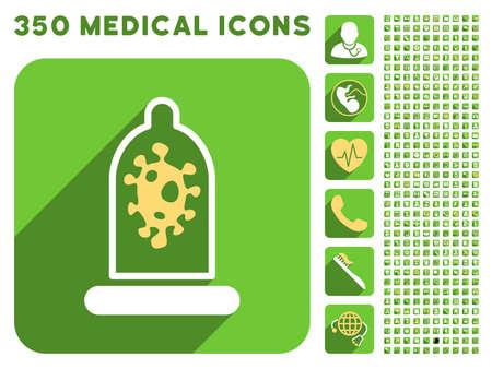 La infección icono de Protección de preservativos y 350 vector colección de iconos de médicos. El estilo es blanco y amarillo símbolos planas en los botones verdes cuadrado redondeado con Longshadow.