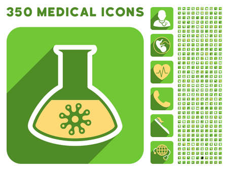 ameba: Infection Container Flask icon and 350 vector medical icons collection. Style is white and yellow flat symbols on rounded square green buttons with longshadow.