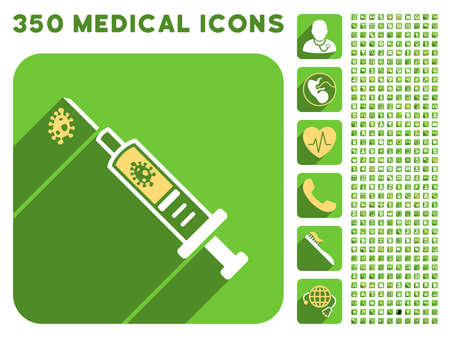 ameba: Infection Injection icon and 350 vector medical icons collection. Style is white and yellow flat symbols on rounded square green buttons with longshadow.