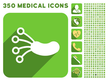ameba: Infection Microbe icon and 350 vector medical icons collection. Style is white and yellow flat symbols on rounded square green buttons with longshadow.