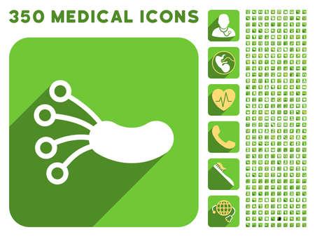 microbio: Microbio icono de infecci�n y 350 vector colecci�n de iconos de m�dicos. El estilo es blanco y amarillo s�mbolos planas en los botones verdes cuadrado redondeado con Longshadow.