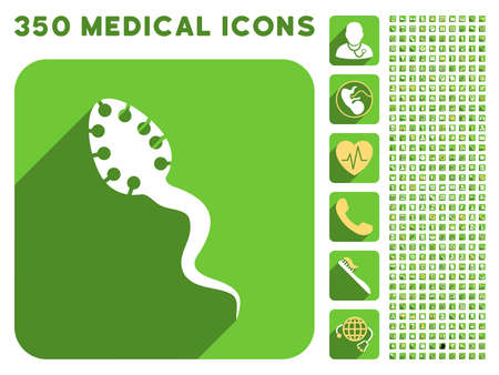 infectious: Infectious Microbe icon and 350 vector medical icons collection. Style is white and yellow flat symbols on rounded square green buttons with longshadow.