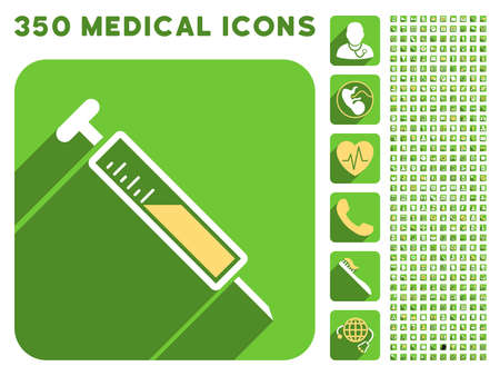 drug user: Injection icon and 350 vector medical icons collection. Style is white and yellow flat symbols on rounded square green buttons with longshadow.
