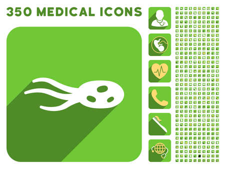 ameba: Intrude Microorganism icon and 350 vector medical icons collection. Style is white and yellow flat symbols on rounded square green buttons with longshadow.