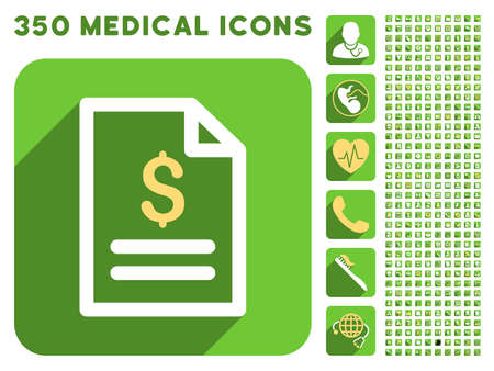 meter box: Invoice Page icon and 350 vector medical icons collection. Style is white and yellow flat symbols on rounded square green buttons with longshadow. Illustration