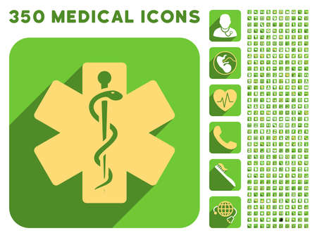 yellow star: Life Star icon and 350 vector medical icons collection. Style is white and yellow flat symbols on rounded square green buttons with longshadow.