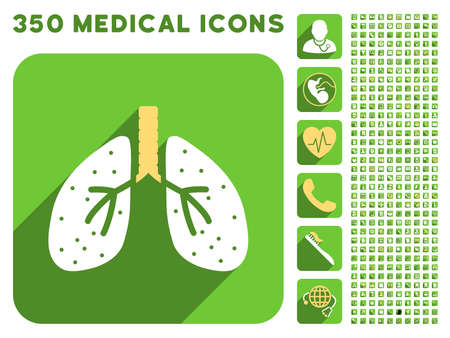 autopsy: Lungs icon and 350 vector medical icons collection. Style is white and yellow flat symbols on rounded square green buttons with longshadow.