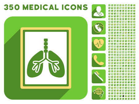 yellow photo: Lungs X-Ray Photo icon and 350 vector medical icons collection. Style is white and yellow flat symbols on rounded square green buttons with longshadow. Illustration