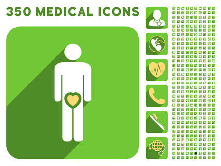 friend chart: Male Love icon and 350 vector medical icons collection. Style is white and yellow flat symbols on rounded square green buttons with longshadow.