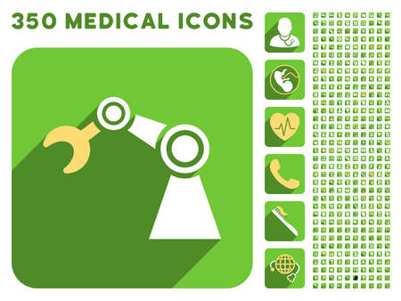 manipulator: Manipulator icon and 350 vector medical icons collection. Style is white and yellow flat symbols on rounded square green buttons with longshadow.